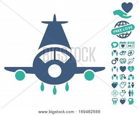 Cargo Plane icon with bonus valentine design elements. Vector illustration style is flat iconic cobalt and cyan symbols on white background.