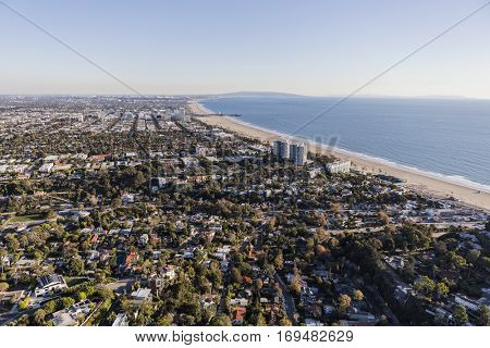 Aerial view of Santa Monica and the Pacific Ocean in Southern California.