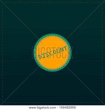 Discount Badge Label or Sticker. Color symbol icon on black background. Vector illustration