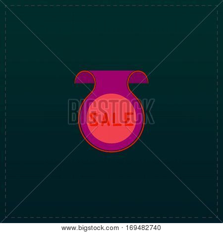 Bookmark with Sale message. Color symbol icon on black background. Vector illustration
