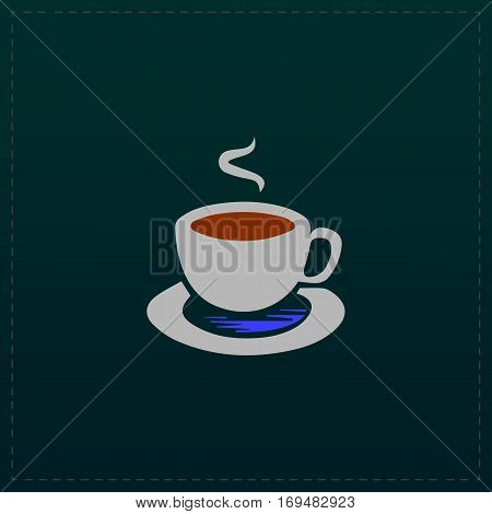 Cup of coffe. Color symbol icon on black background. Vector illustration