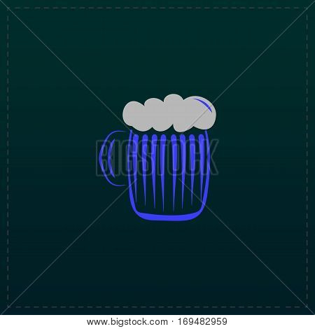 Glass of beer with foam. Color symbol icon on black background. Vector illustration