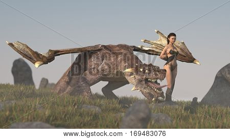 3d illustration of the asian girl and fantasy dragon