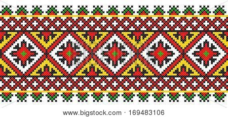 Embroidered old handmade cross-stitch ethnic Ukrainian pattern. Towel with ornament, called rushnyk in vector
