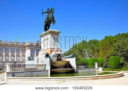 Monument of Felipe IV on Plaza de Oriente in Madrid, Spain. (Was opend in 1843)