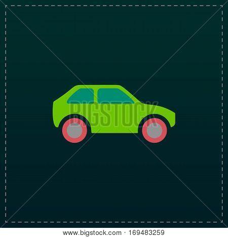 Hatchback Car. Color symbol icon on black background. Vector illustration