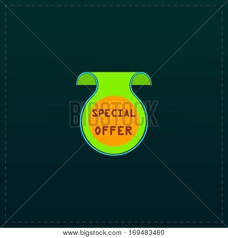 Bookmark with Special Offer message. Color symbol icon on black background. Vector illustration