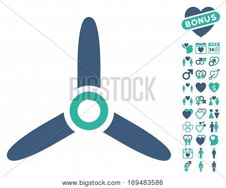 Three Bladed Screw icon with bonus dating pictures. Vector illustration style is flat iconic cobalt and cyan symbols on white background.