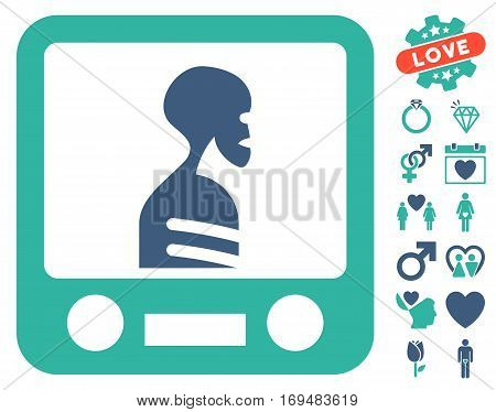 Xray Screening pictograph with bonus love symbols. Vector illustration style is flat iconic cobalt and cyan symbols on white background.