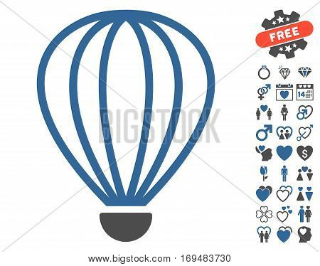 Aerostat pictograph with bonus lovely pictograms. Vector illustration style is flat iconic cobalt and gray symbols on white background.