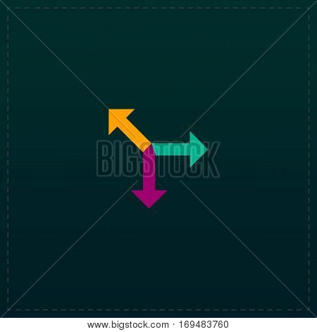 Three-way direction arrow. Color symbol icon on black background. Vector illustration