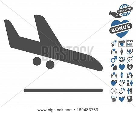 Aiplane Landing icon with bonus lovely images. Vector illustration style is flat iconic cobalt and gray symbols on white background.