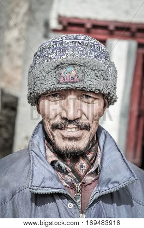 Man With Fur Cap In Ladakh