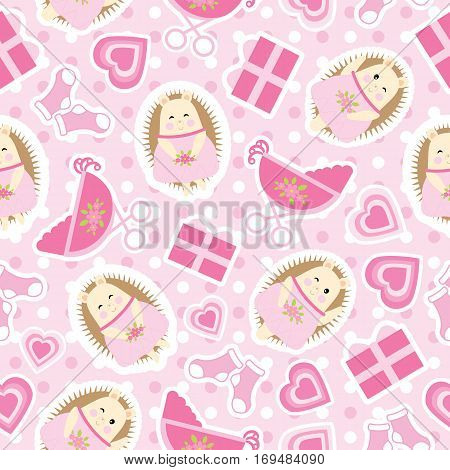 Baby shower seamless pattern with cute hedgehog, gifts, baby cart and socks on polka dot background suitable for baby shower wallpaper, scrap paper, and fabric
