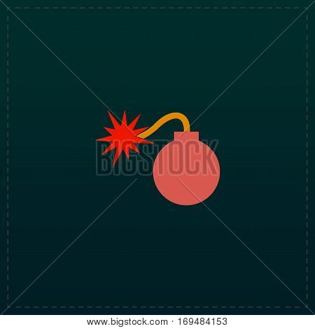 Bomb. Color symbol icon on black background. Vector illustration