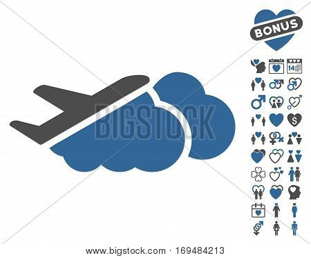 Airplane Over Clouds icon with bonus love graphic icons. Vector illustration style is flat iconic cobalt and gray symbols on white background.