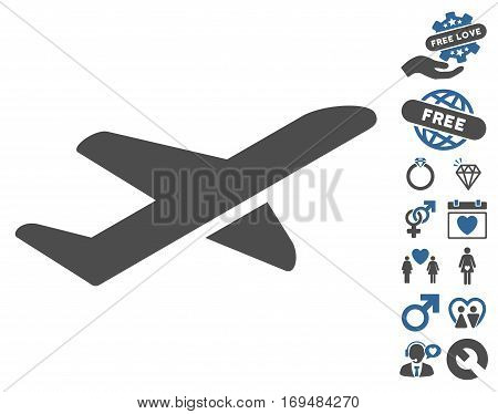 Airplane Takeoff icon with bonus dating design elements. Vector illustration style is flat iconic cobalt and gray symbols on white background.
