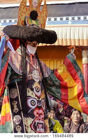 Man In Traditional Mask In Ladakh
