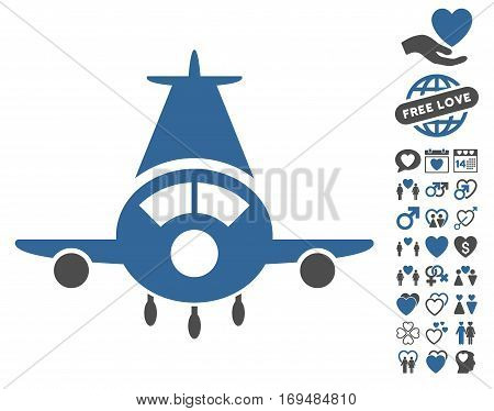 Cargo Plane pictograph with bonus dating symbols. Vector illustration style is flat iconic cobalt and gray symbols on white background.