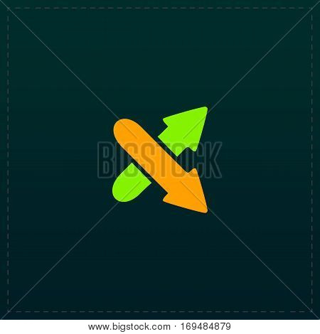 Two arrows. Direction sign. Color symbol icon on black background. Vector illustration