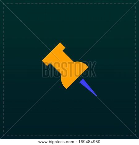 Simple Push pin. Color symbol icon on black background. Vector illustration