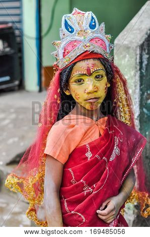 Girl With Diadem In Assam