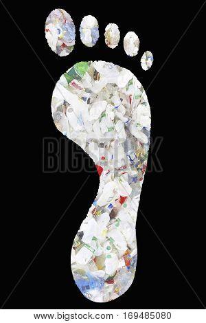 Pile of plastic bottles in footprints over black background