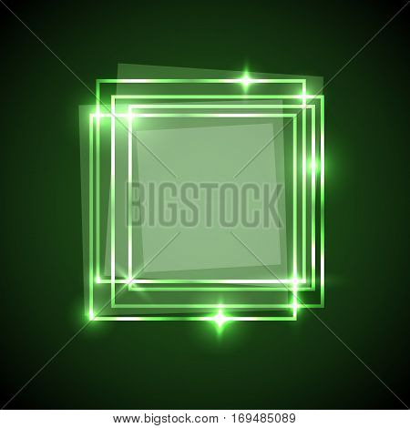 Abstract background with green squares banner, stock vector