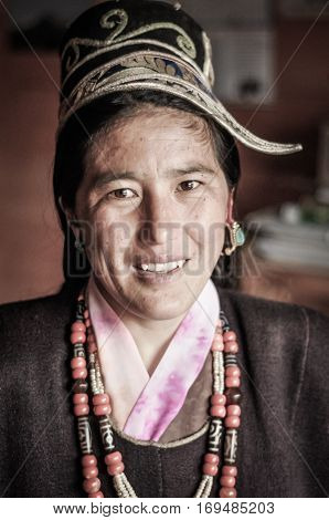 Smiling Native Woman In Arunachal Pradesh