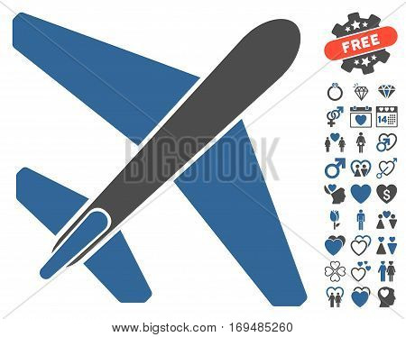 Jet Airplane icon with bonus valentine pictures. Vector illustration style is flat iconic cobalt and gray symbols on white background.