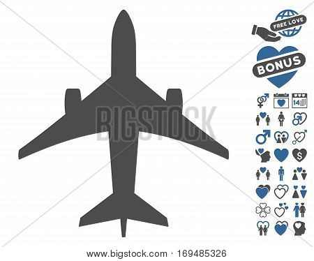 Jet Plane pictograph with bonus lovely pictures. Vector illustration style is flat iconic cobalt and gray symbols on white background.