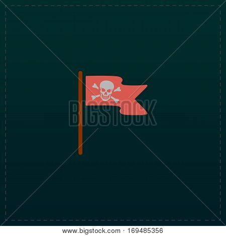 Jolly Roger or Skull and Cross bones Pirate flag. Color symbol icon on black background. Vector illustration