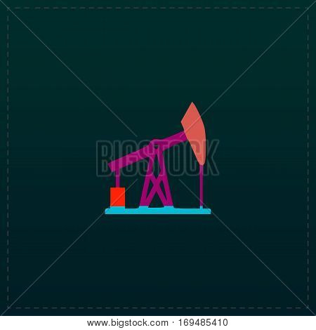 Oil derrick. Color symbol icon on black background. Vector illustration