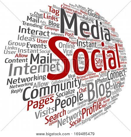 Vector concept or conceptual social media marketing or communication abstract word cloud isolated on background metaphor to networking, community, technology, advertising, global, worldwide tagcloud