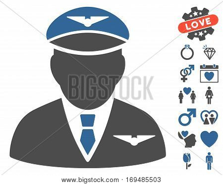 Pilot icon with bonus lovely symbols. Vector illustration style is flat iconic cobalt and gray symbols on white background.