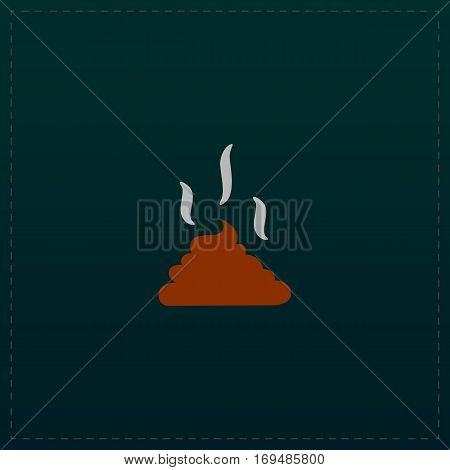 Feces. Clean up after pets symbol. Put it in the bag. Color symbol icon on black background. Vector illustration