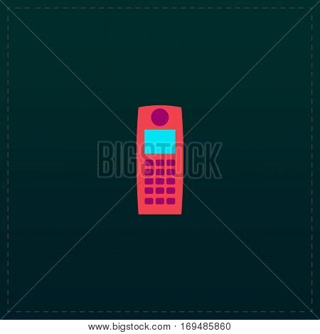 Retro mobile phone. Color symbol icon on black background. Vector illustration