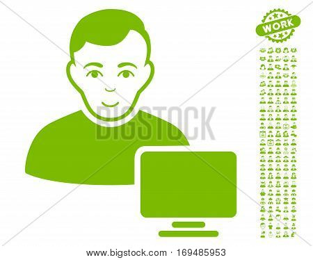 Computer Administrator pictograph with bonus people graphic icons. Vector illustration style is flat iconic eco green symbols on white background.