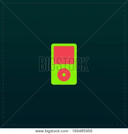 Portable media player. Color symbol icon on black background. Vector illustration