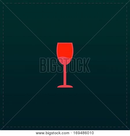 Simple Wine glass - Alcohol drink. Color symbol icon on black background. Vector illustration