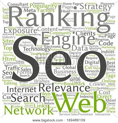 Concept or conceptual search engine optimization, seo abstract word cloud isolated on background metaphor to marketing, web, internet, strategy, online, rank, result,  network, top, relevance