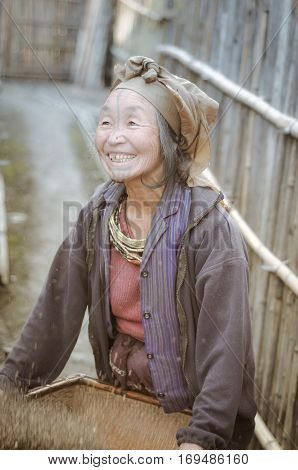 Smiling Woman With Headcloth In Arunachal Pradesh
