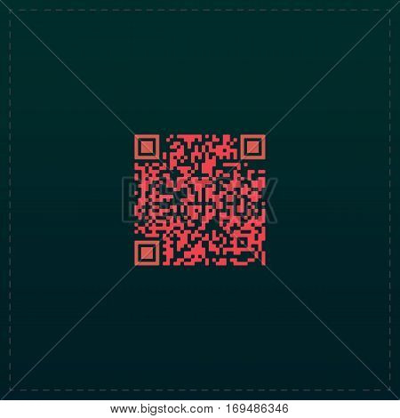 Qr code. Color symbol icon on black background. Vector illustration