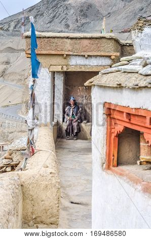 Woman With Blue Cap In Ladakh