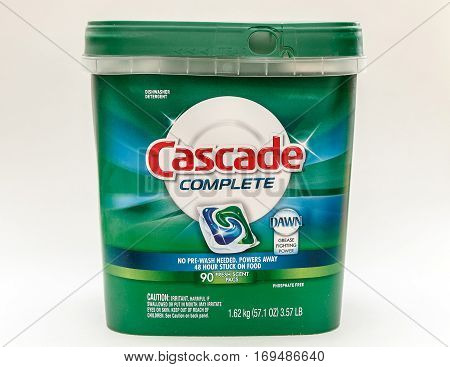 New York, February 3, 2017: A pack of Cascade Complete dishwasher capsules isolated on white background.