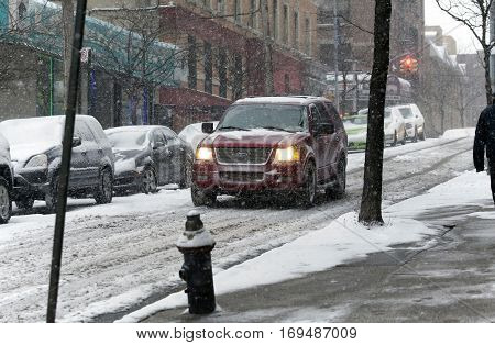 BRONX NEW YORK - JANUARY 7: SUV vehicle in snow storm. Taken January 7 2017 in New York.