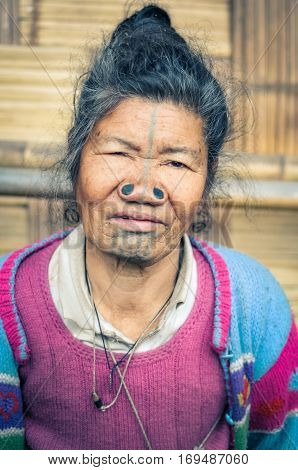 Apatani Woman In Arunachal Pradesh