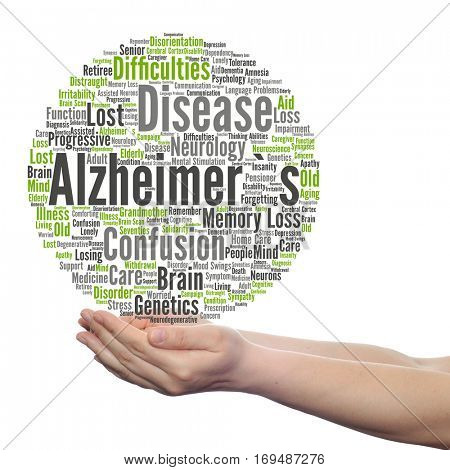Concept conceptual Alzheimer`s disease symptoms abstract word cloud held in hands isolated on background metaphor to care, loss, caregiving, aging, resistance, neurology, old language motor resistance