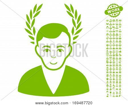 Man Glory pictograph with bonus men clip art. Vector illustration style is flat iconic eco green symbols on white background.