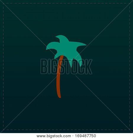 Palm. Color symbol icon on black background. Vector illustration